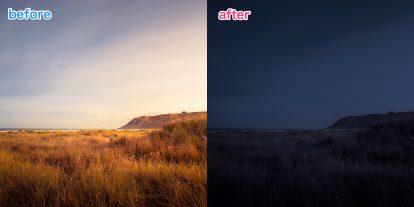 【1ステップ】Photoshopを使って昼の写真を夜に変える方法